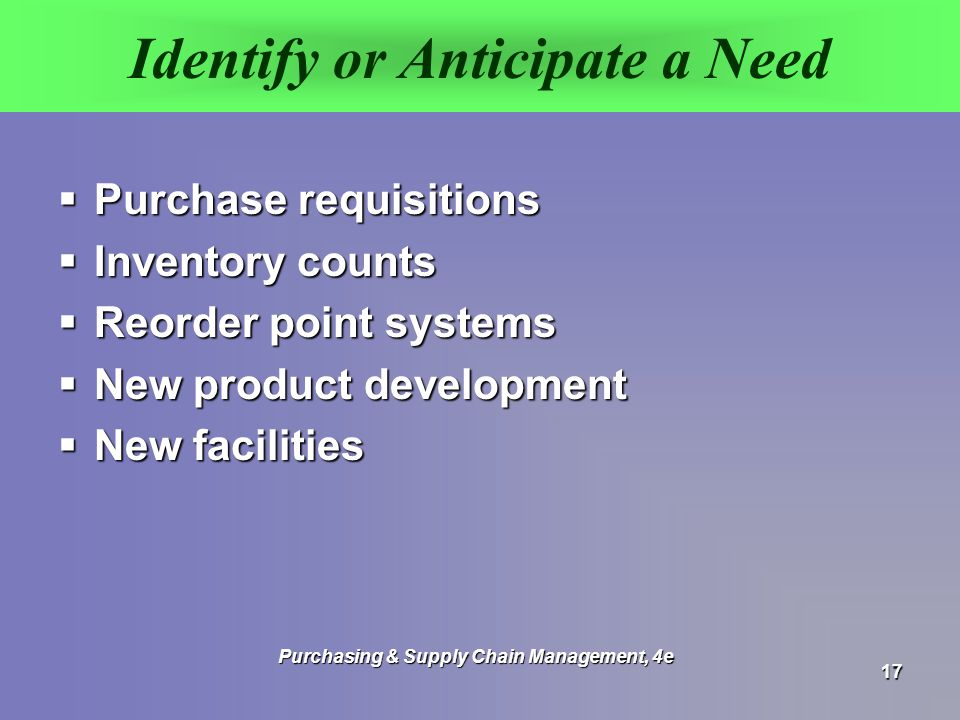 Identify or Anticipate a Need