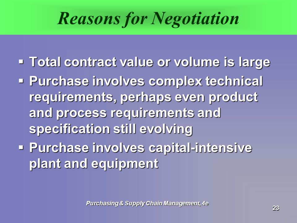 Reasons for Negotiation