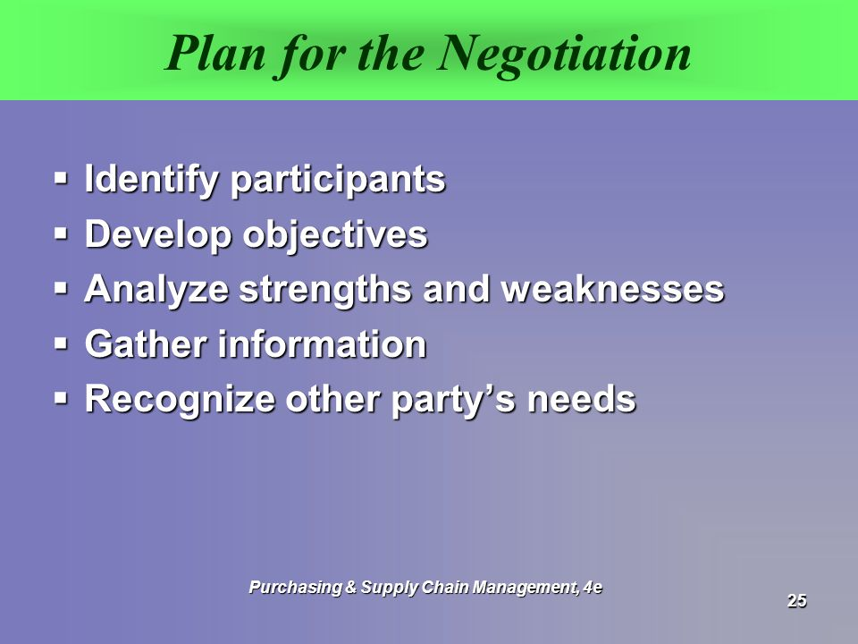 Plan for the Negotiation