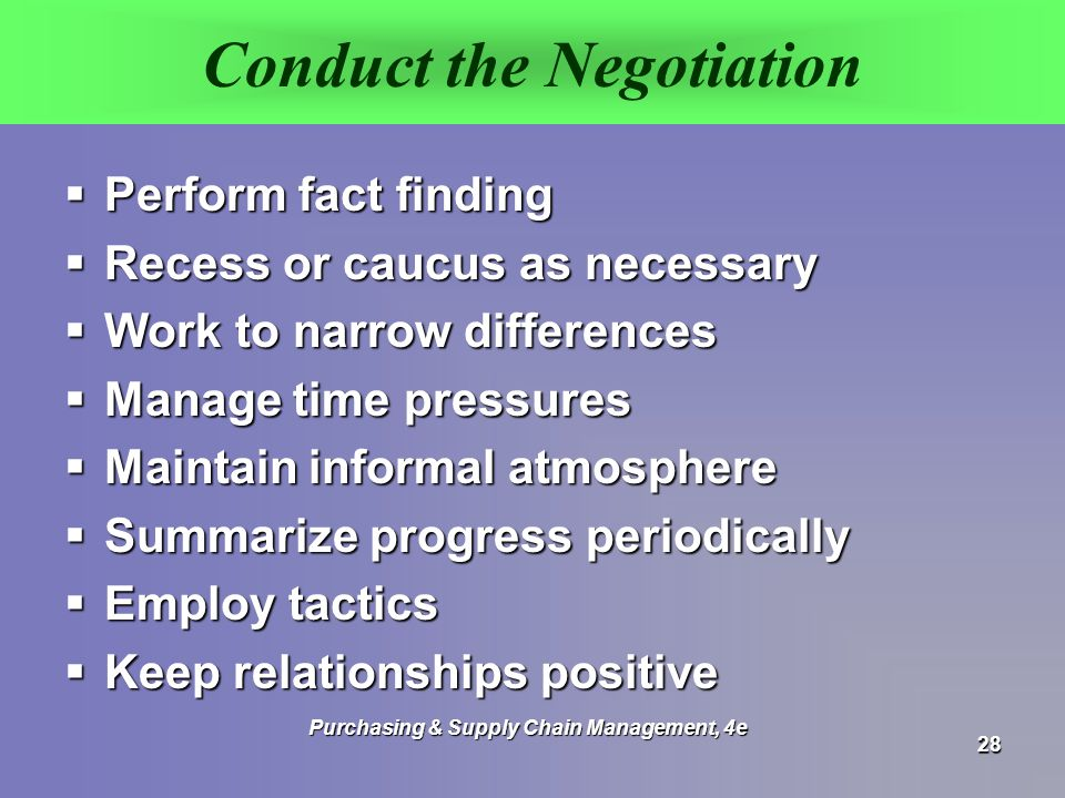Conduct the Negotiation