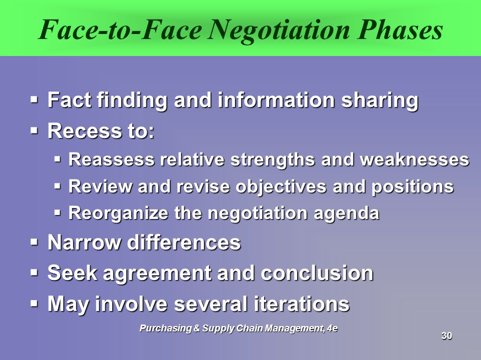 Face-to-Face Negotiation Phases