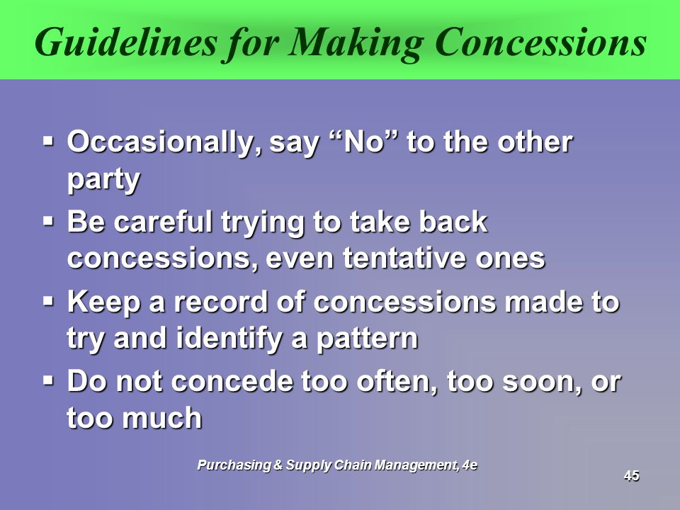 Guidelines for Making Concessions
