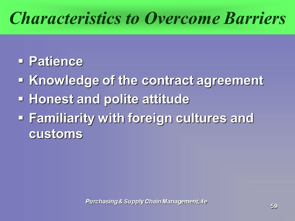 Characteristics to Overcome Barriers