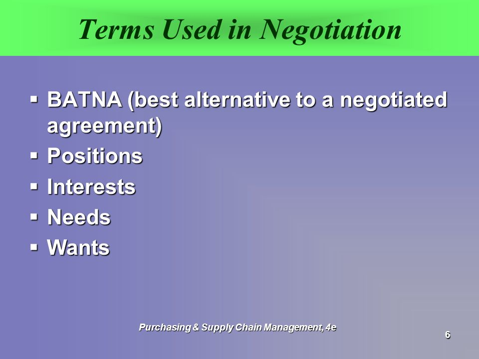 Terms Used in Negotiation