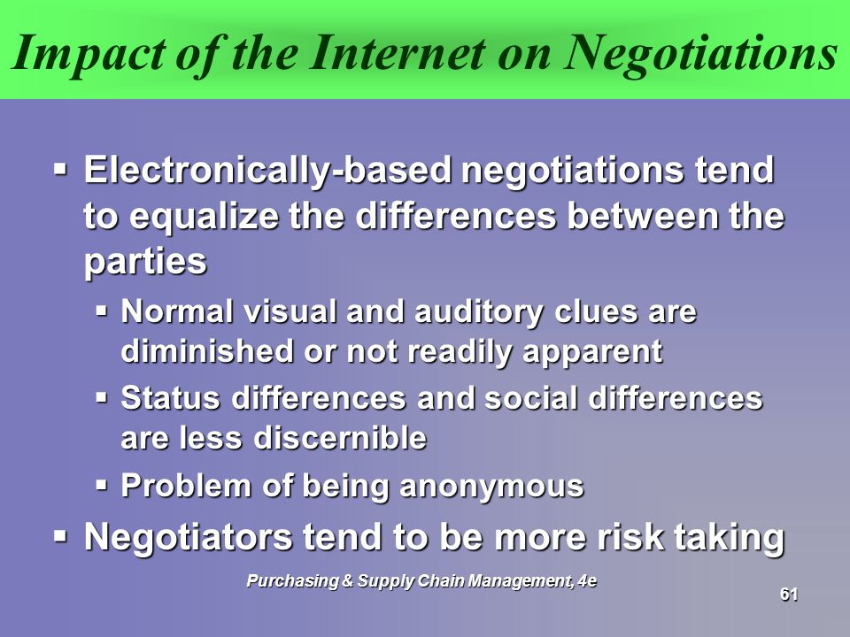 Impact of the Internet on Negotiations