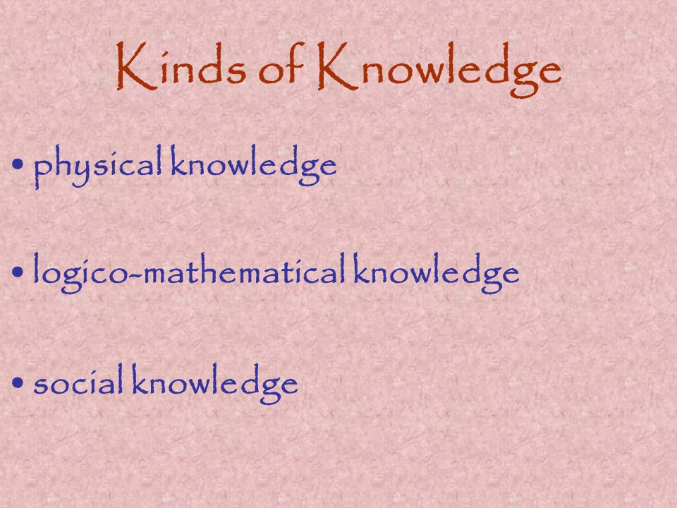 Kinds of Knowledge physical knowledge logico-mathematical knowledge