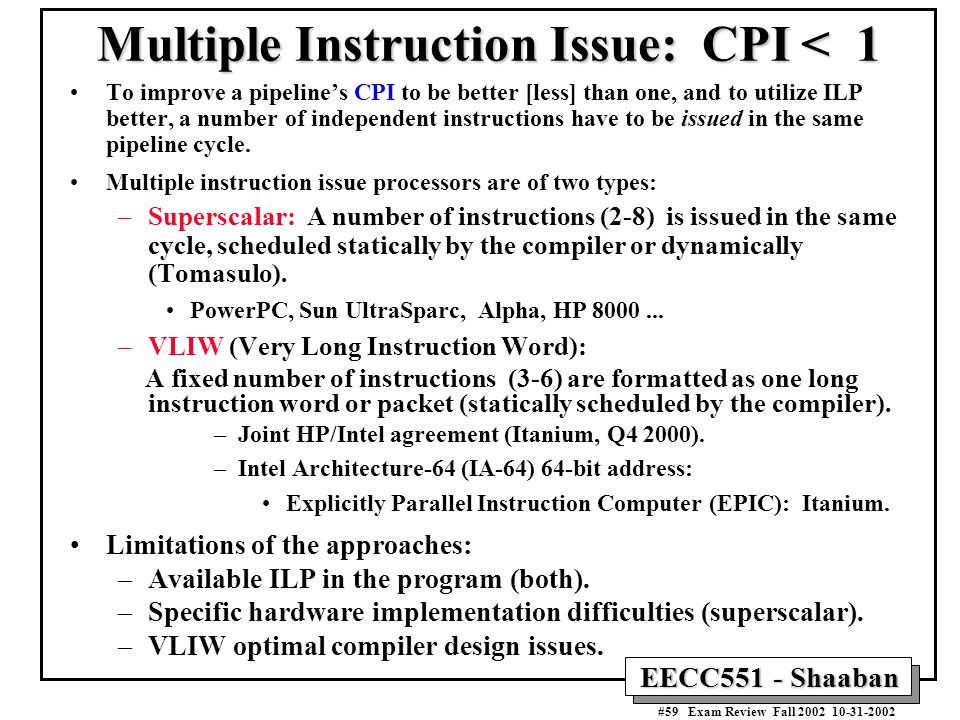 limitations of a superscalar architecture The epic architecture colin tan limitations to superscalar ilp • overview of the ipf architecture, hewlett packard.