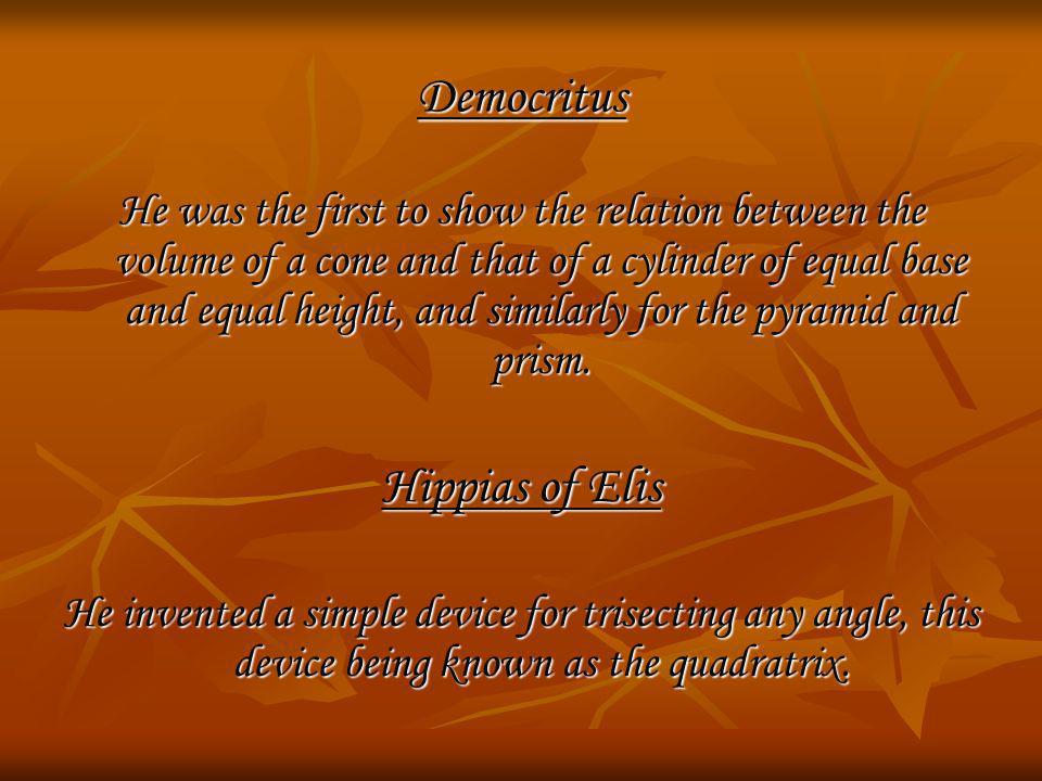 Democritus Hippias of Elis