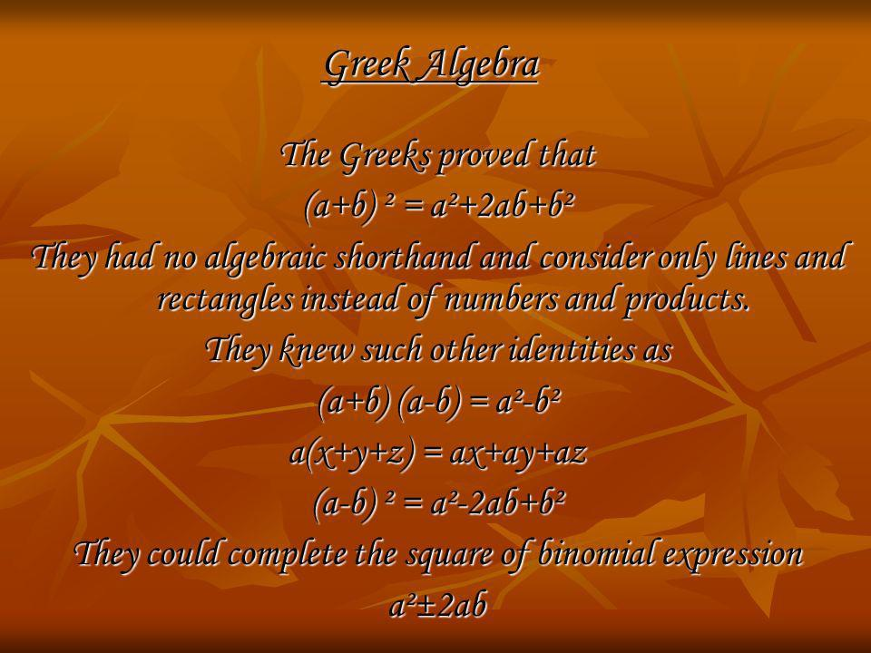 Greek Algebra The Greeks proved that (a+b) ² = a²+2ab+b²