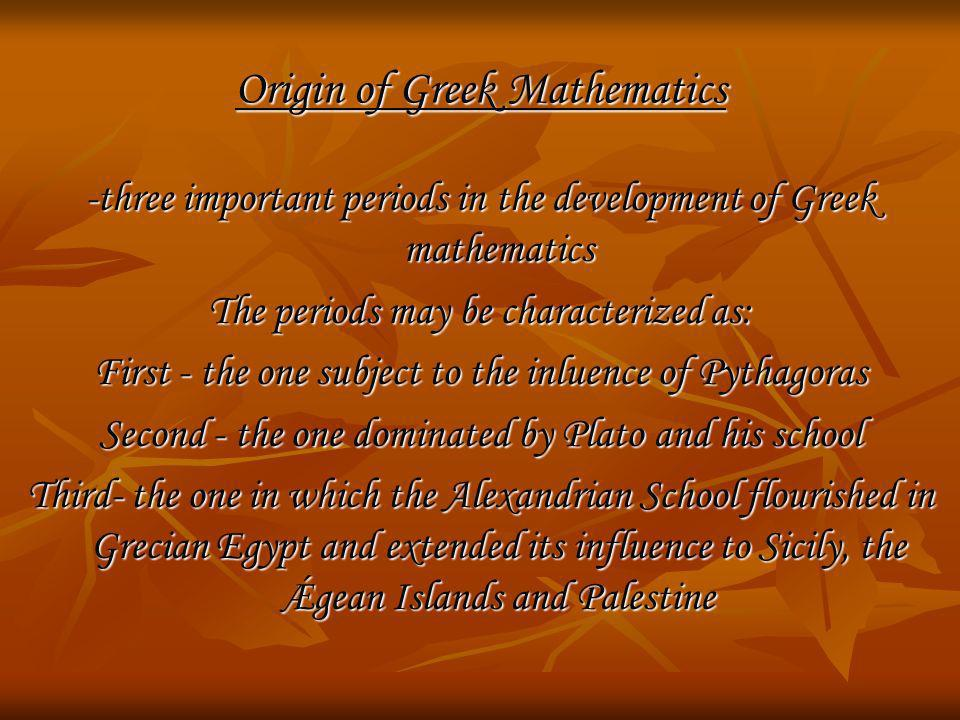 Origin of Greek Mathematics