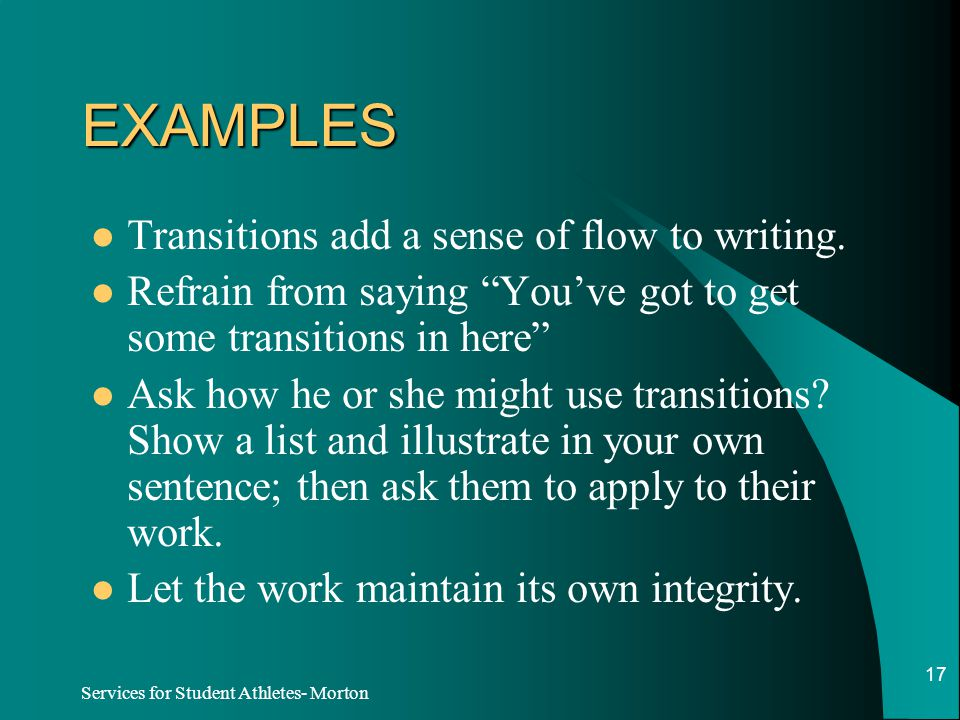 Student Writing Guide: Transitions