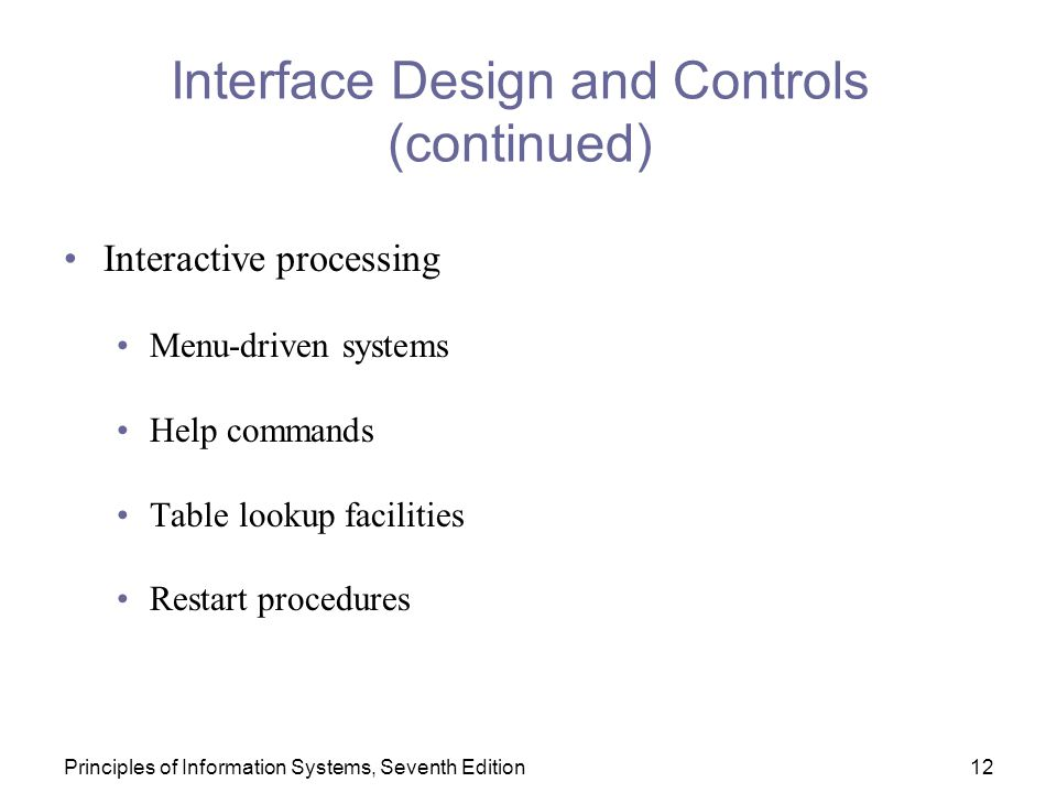 Interface Design and Controls (continued)