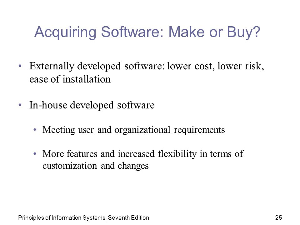 Acquiring Software: Make or Buy