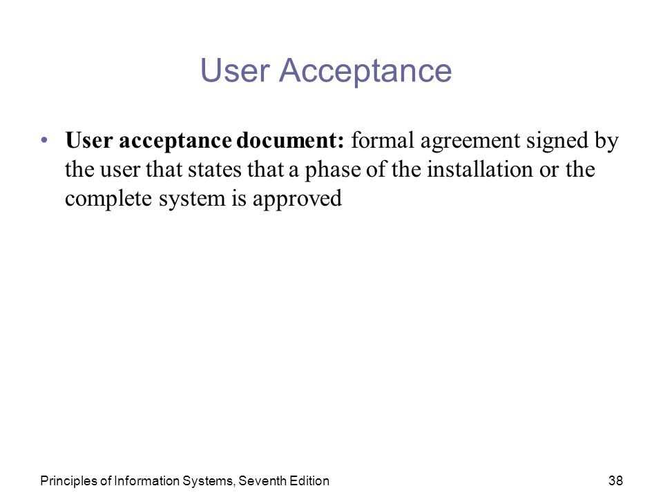 User Acceptance