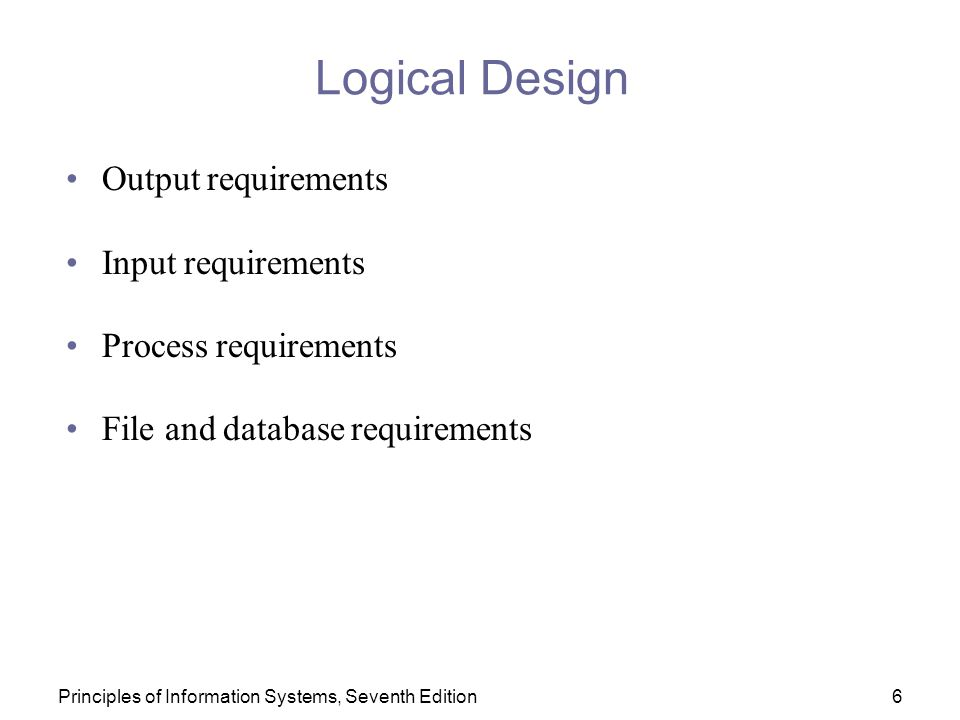 Logical Design Output requirements Input requirements