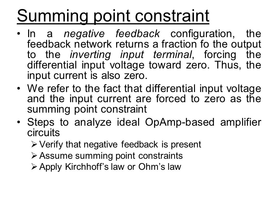 Summing point constraint
