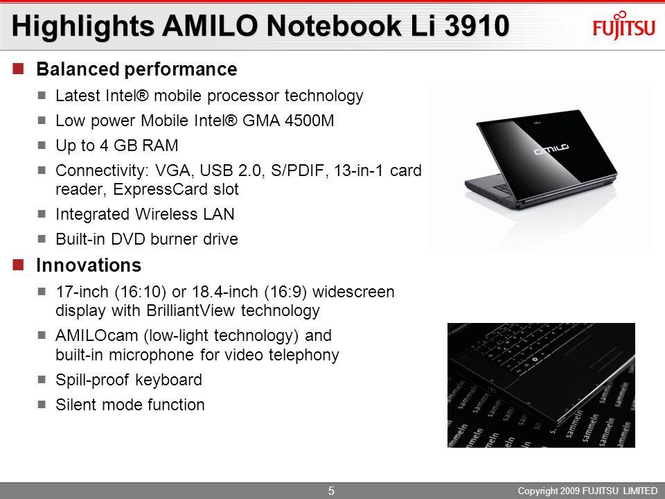 Highlights AMILO Notebook Li 3910