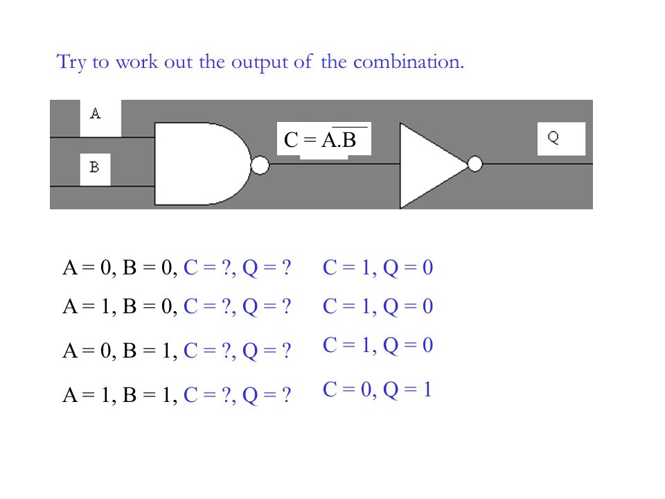 Try to work out the output of the combination.