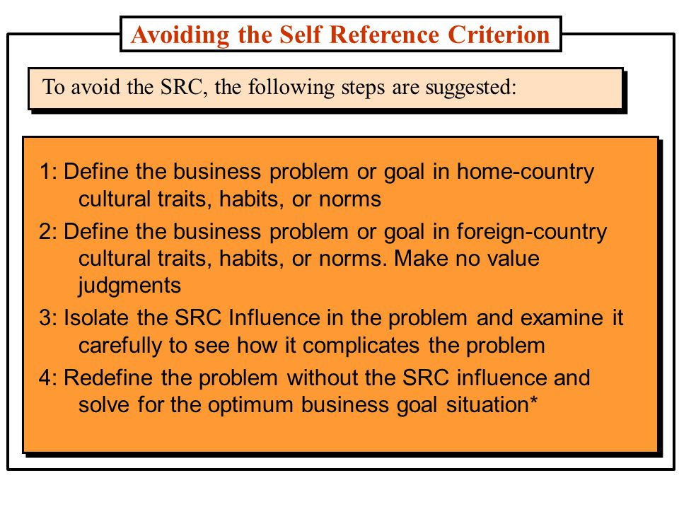 international businesspeople avoid relying self reference criterion The self-reference criterion  a complicating factor in cultural awareness is that what may be an imperative to avoid in one culture is an imperative to do in another  in this table, the top 25 and bottom 25 are shown among its various activities, ti conducts an international survey of businesspeople, political analysts, and the general public to determine their perceptions of corruption in 180 countries in the corruption perception index.