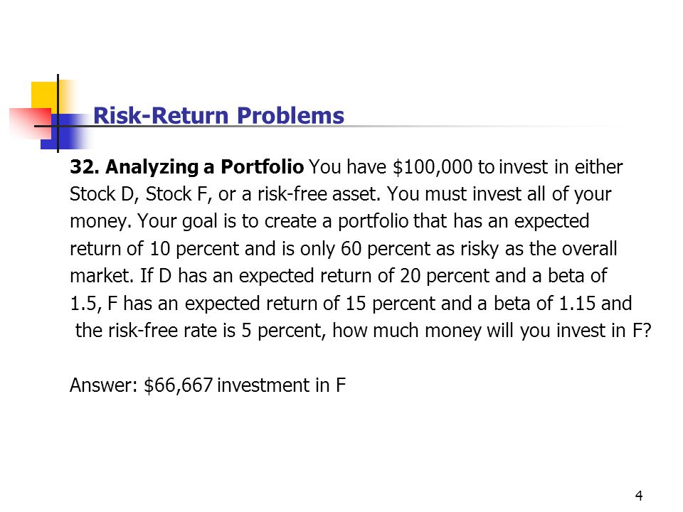 risk and return analysis for investors