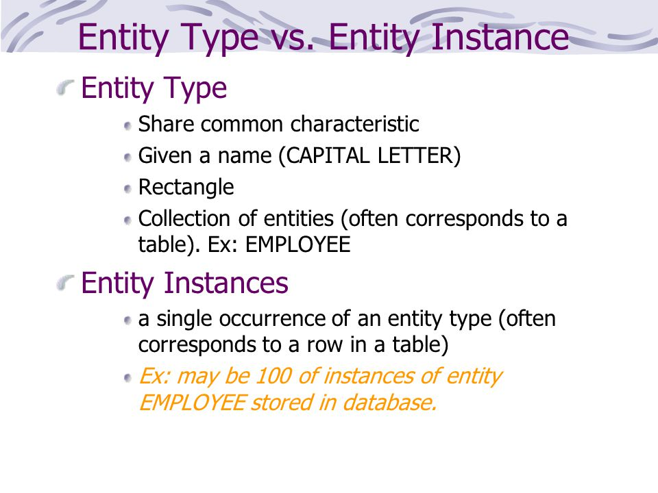 Entity Type vs. Entity Instance