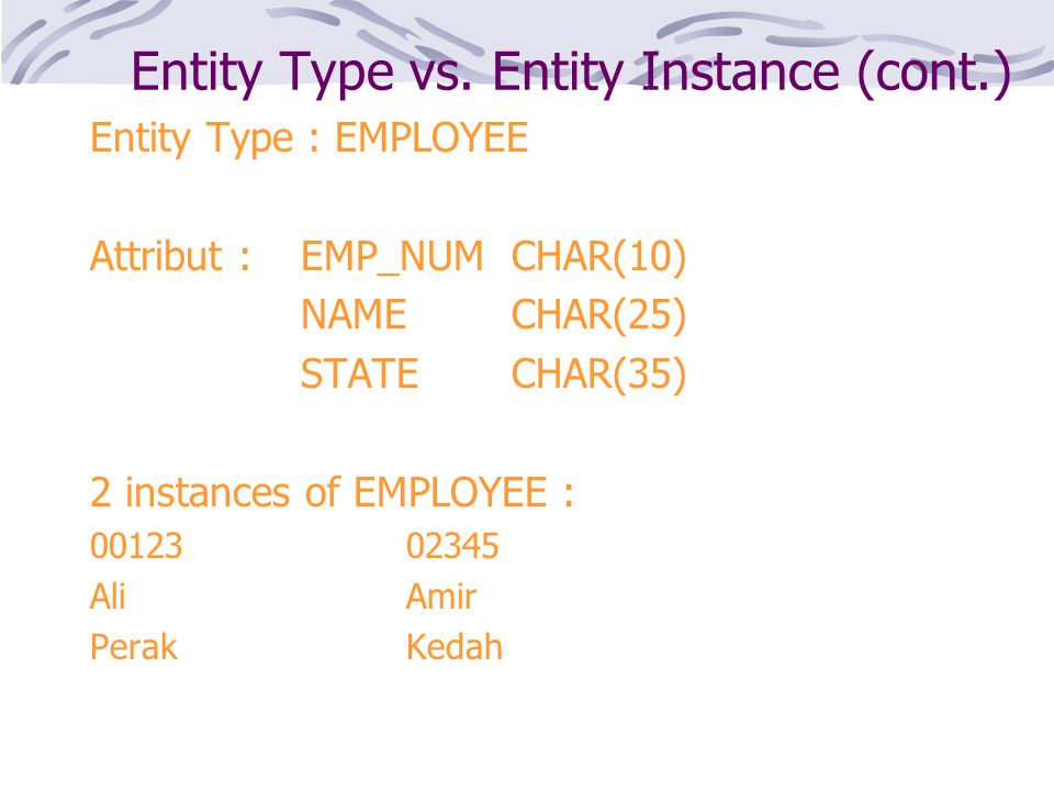 Entity Type vs. Entity Instance (cont.)