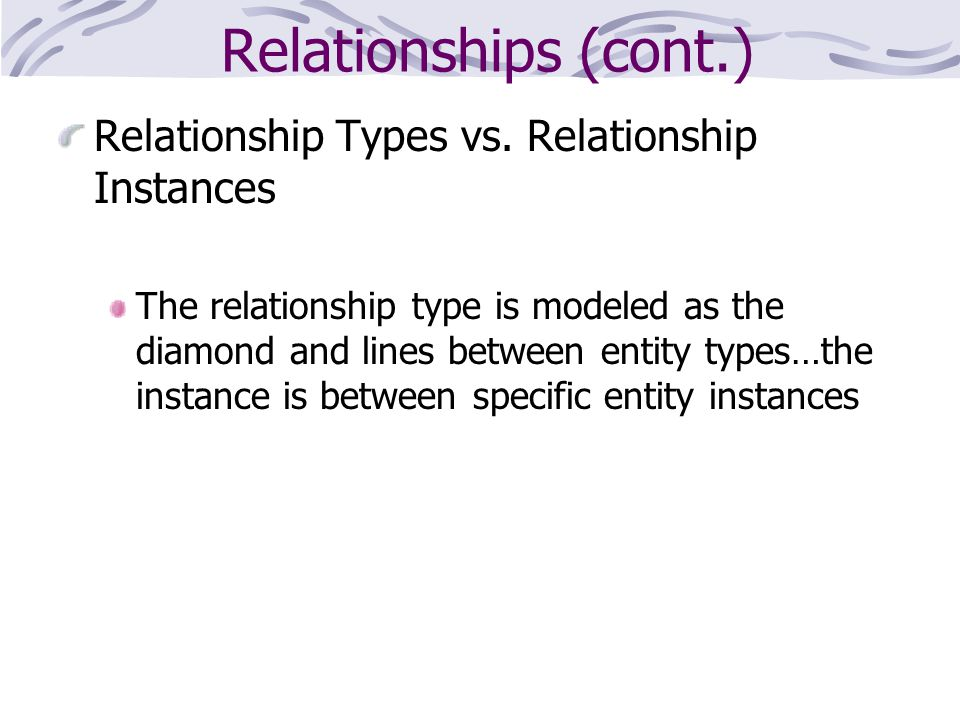 Relationships (cont.) Relationship Types vs. Relationship Instances