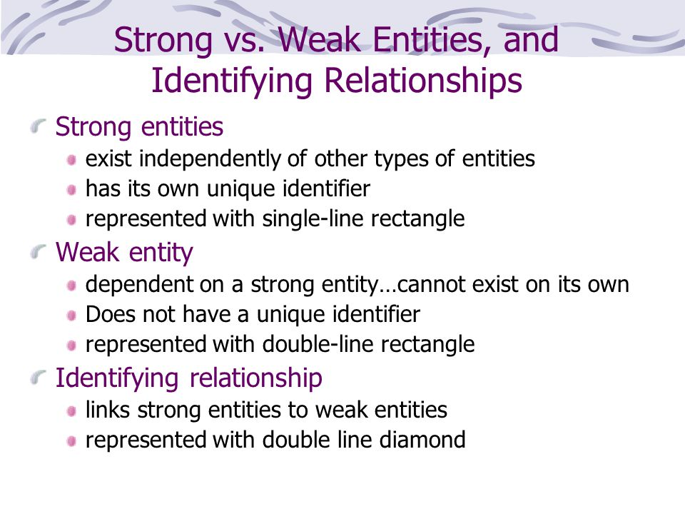 Strong vs. Weak Entities, and Identifying Relationships