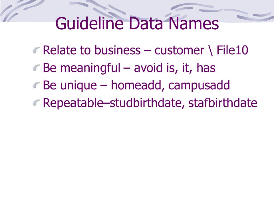 Guideline Data Names Relate to business – customer \ File10