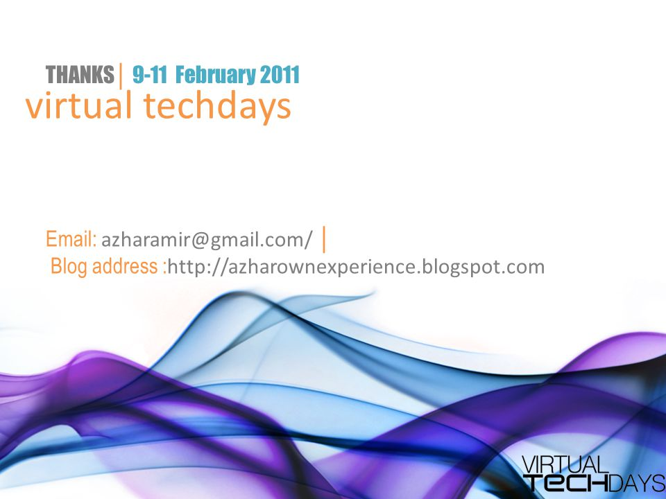 virtual techdays THANKS│ 9-11 February 2011