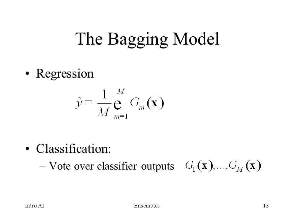 The Bagging Model Regression Classification: