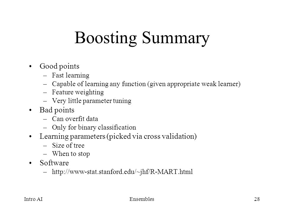 Boosting Summary Good points Bad points