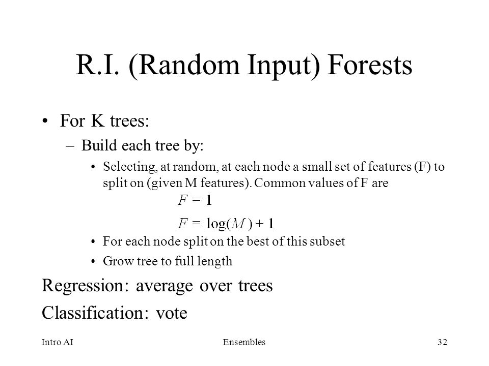 R.I. (Random Input) Forests