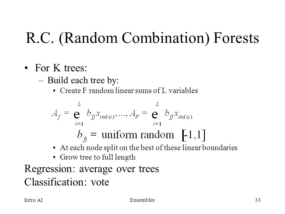 R.C. (Random Combination) Forests