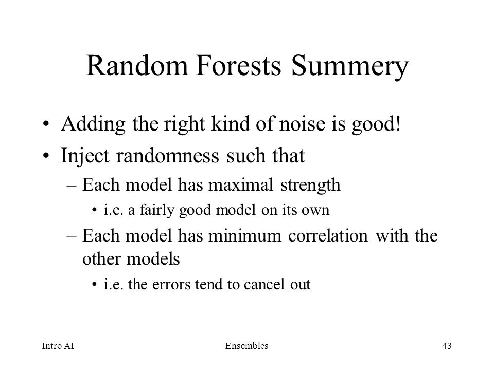 Random Forests Summery