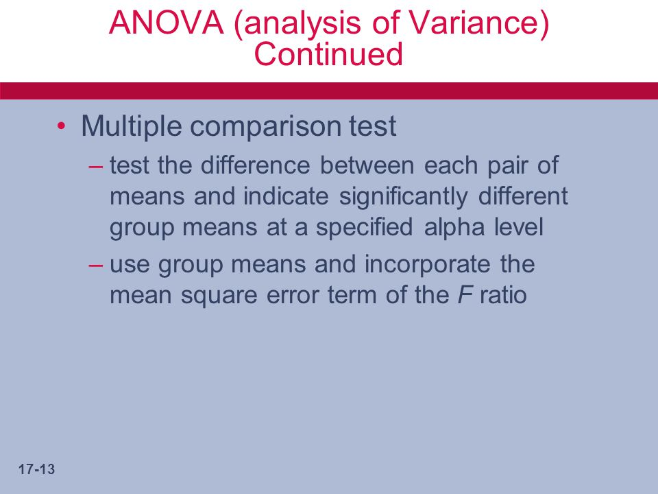 ANOVA (analysis of Variance) Continued