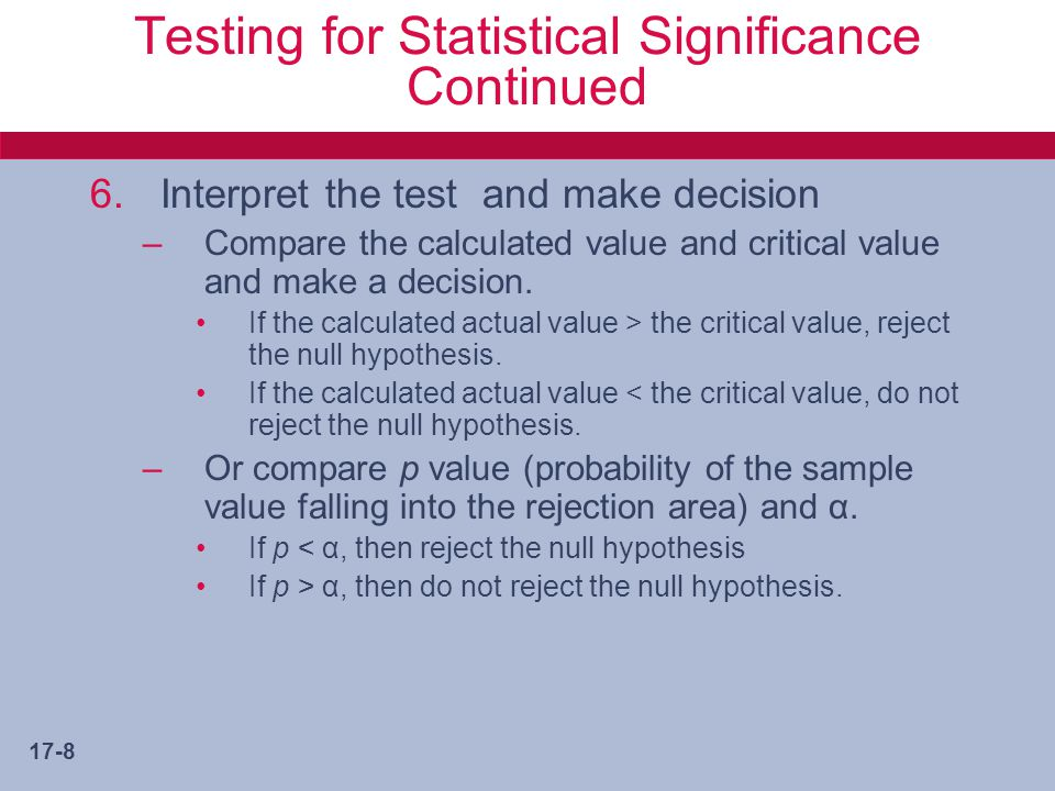 Testing for Statistical Significance Continued