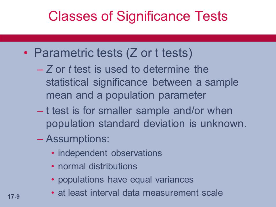Classes of Significance Tests