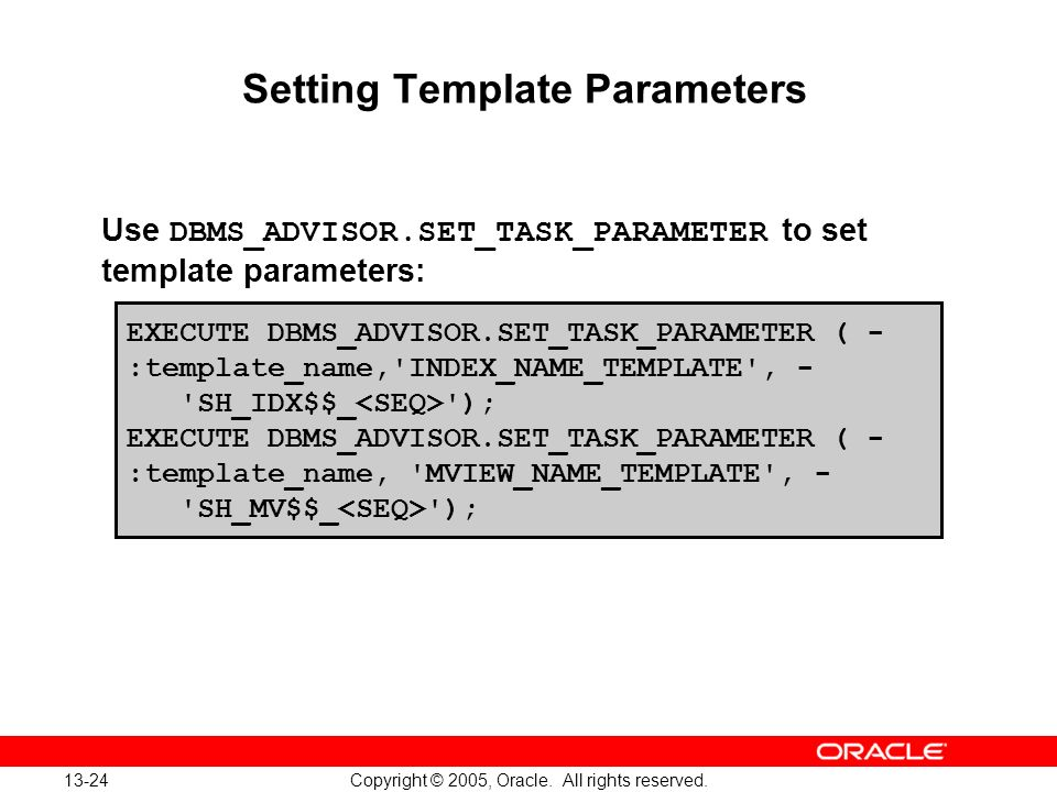 Setting Template Parameters