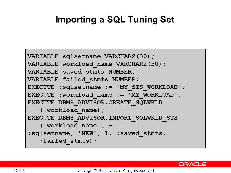 Importing a SQL Tuning Set