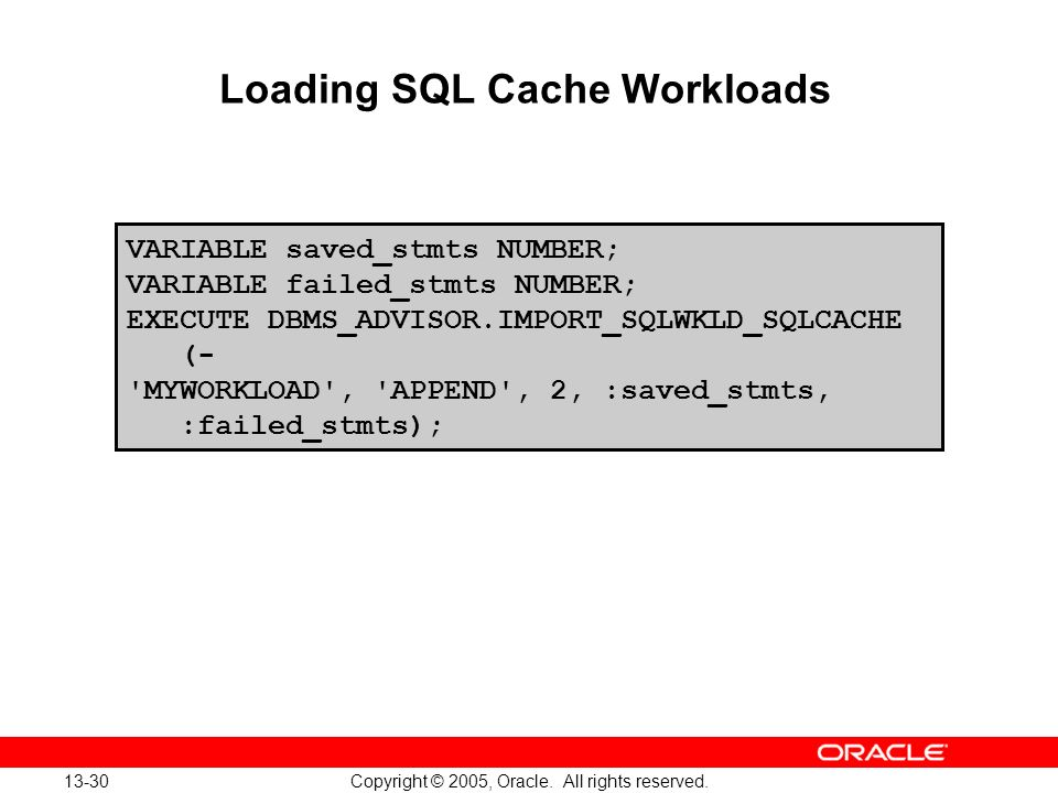 Loading SQL Cache Workloads