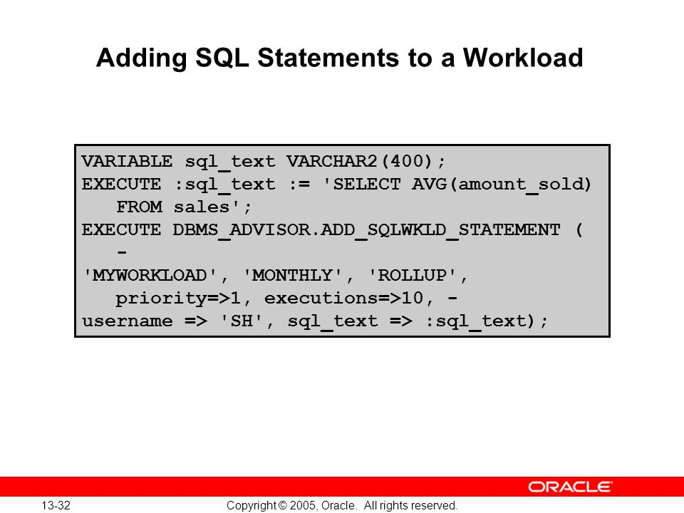 Adding SQL Statements to a Workload