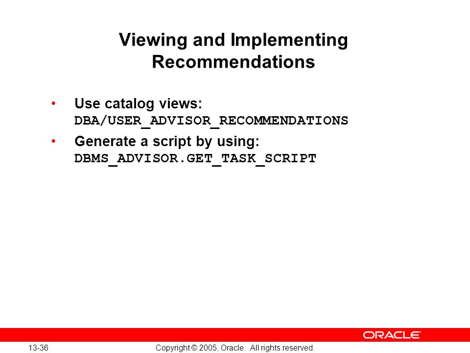 Viewing and Implementing Recommendations