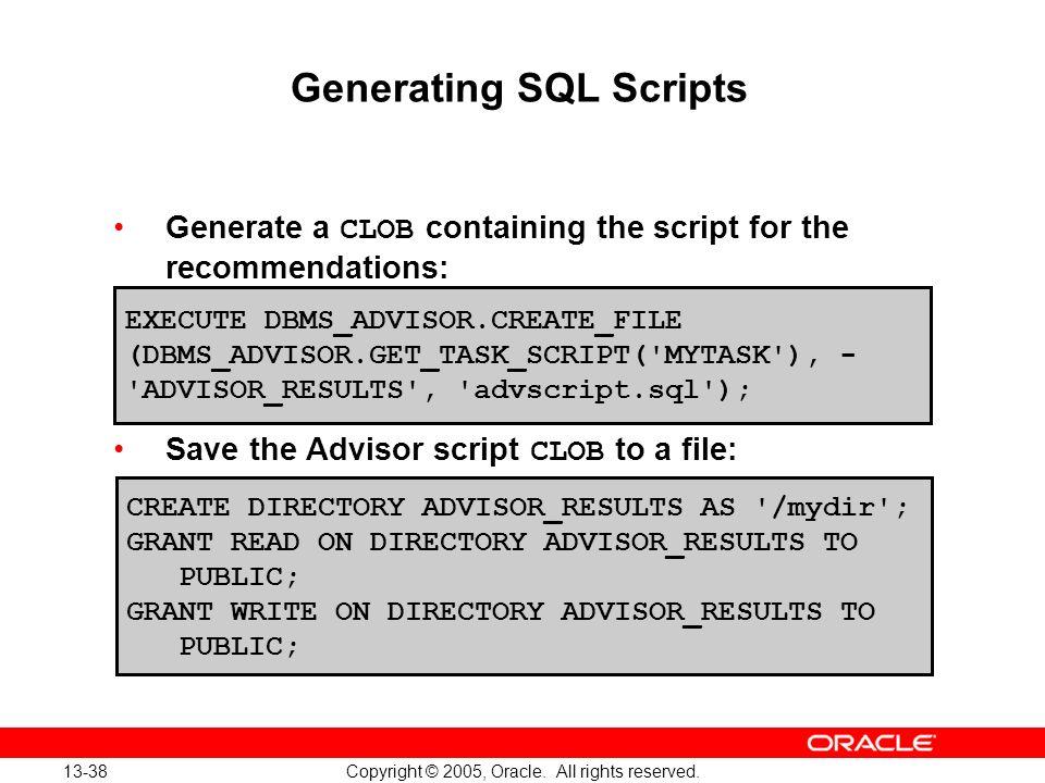 Generating SQL Scripts