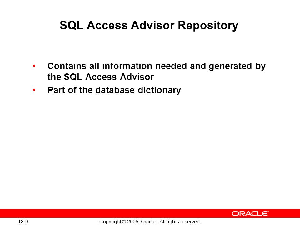 SQL Access Advisor Repository