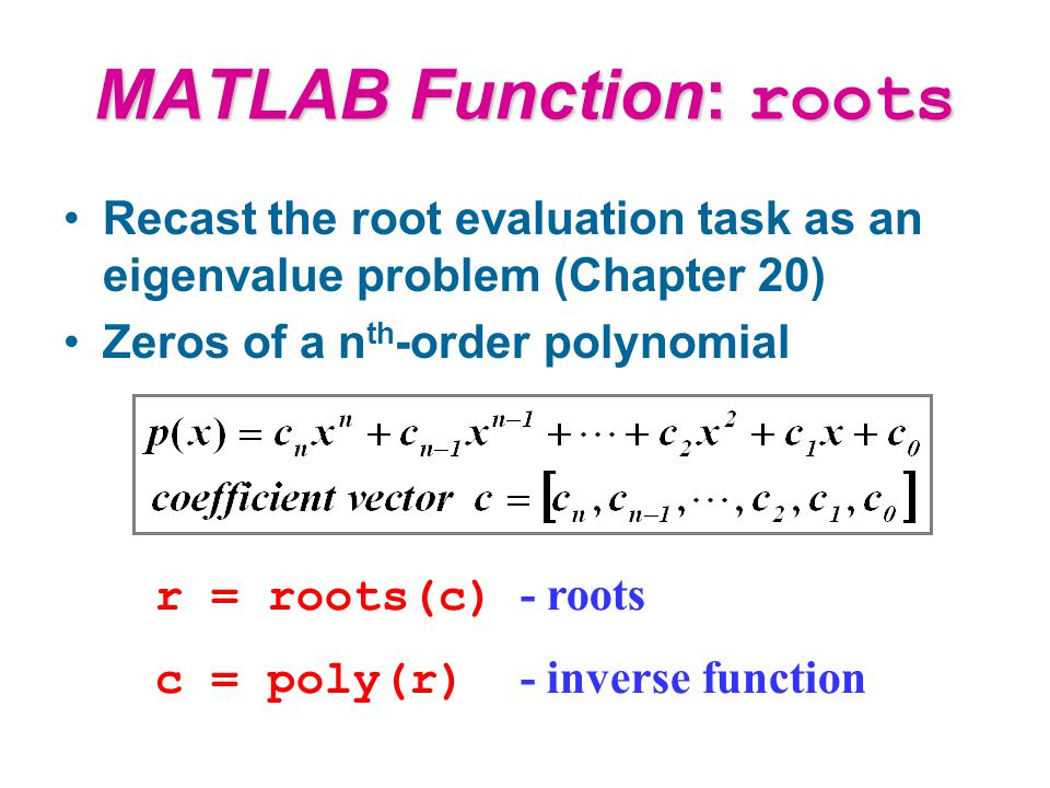 Find roots of a polynomial matlab
