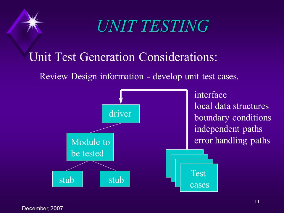 UNIT TESTING Unit Test Generation Considerations: