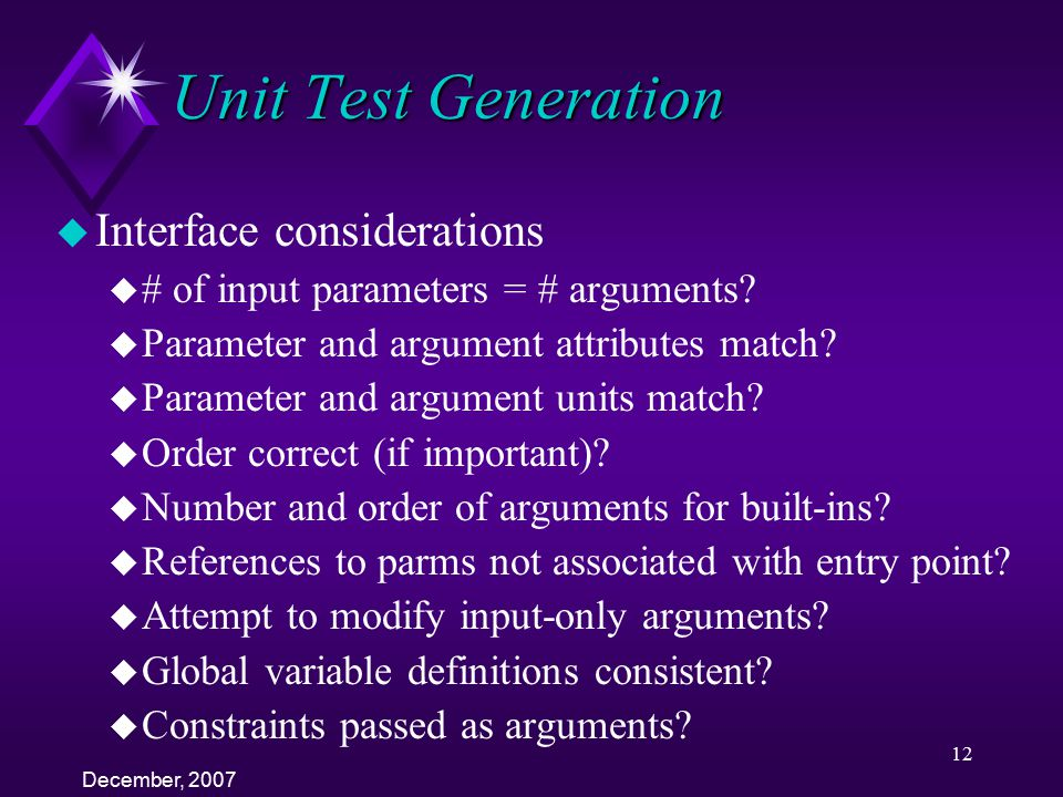 Unit Test Generation Interface considerations