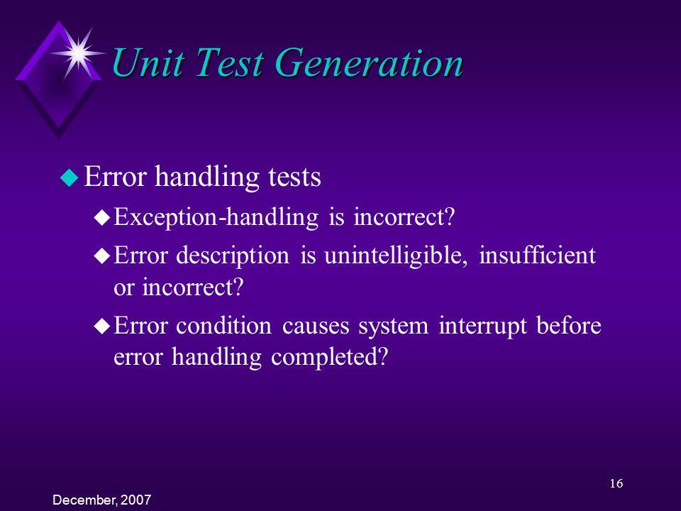 Unit Test Generation Error handling tests