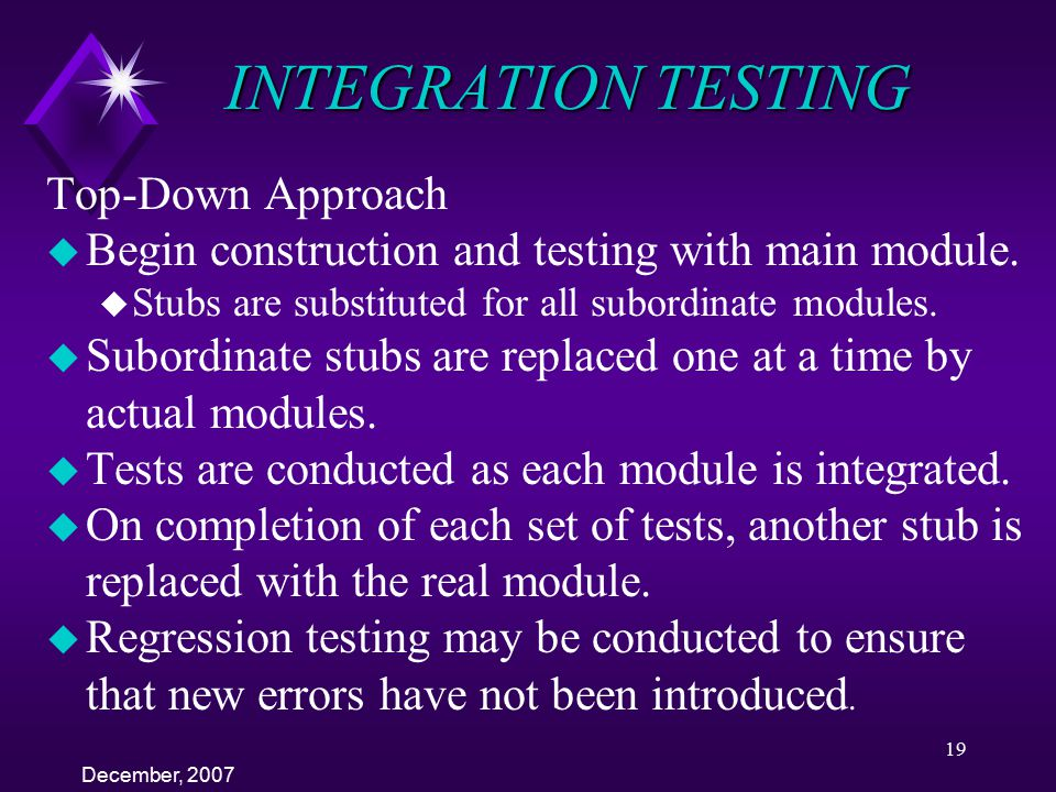 INTEGRATION TESTING Top-Down Approach